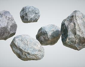 3D model realtime Rocks snowy