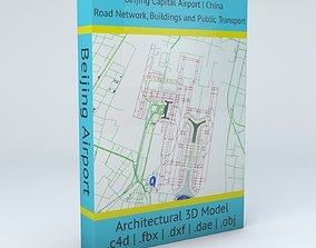 3D Beijing Capital PEK Airport Roads Buildings and Public