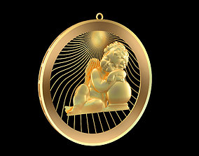 Sleeping-Angel-Pendant-jewelry-Gold 3D printable model