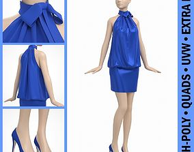 3D Cocktail Party Dress on Female Mannequin
