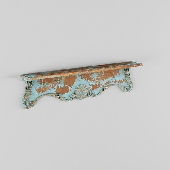 Rustic Carved Wooden Wall Shelf