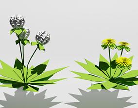 3D asset Origami Floating Dandelion and Dandelion Flower