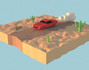 3D asset LowPoly Muscle car