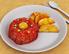 3D model low-poly Steak Tartare