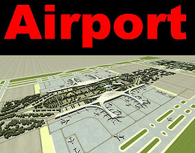 Airport 15 With Parking Lot And Trees 3D