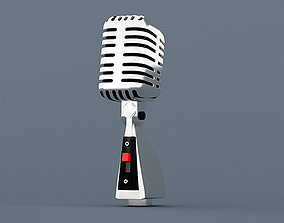 Microphone retro old radio 3D