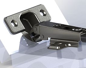 3D model Full overlay hinge with monting plate