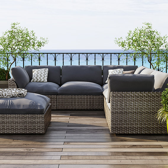 New outdoor ottoman, sofa modeling and scene creating