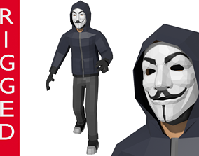 Hacker Anonymous Low Poly 3D rigged model rigged