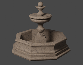 Marble Fountain round 3D