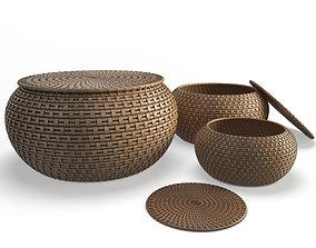 Rattan Braided Baskets 3D model