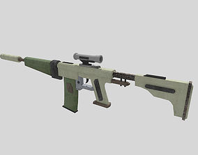 3D asset no brand low poly assault rifle 1