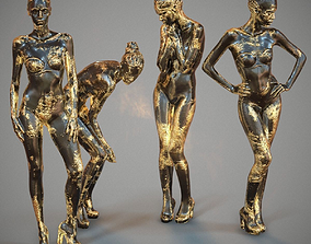 3D asset Golden Girl 4 Statues