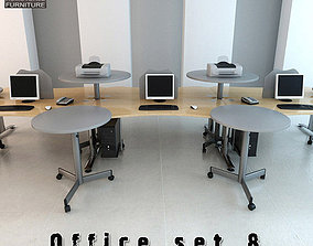 keyboard 3D asset low-poly Office Set