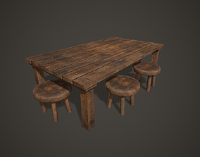 Wooden Tavern Table and Chairs 3D model