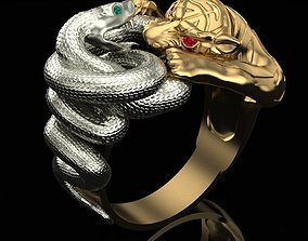 3D print model Ring Tiger and Snake