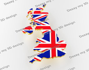 Map of Great Britain land border with flag 3D model