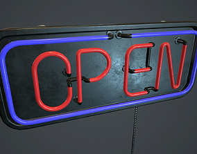 3D asset Neon Open Sign PBR Game Ready