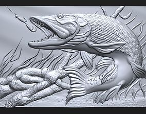 3D printable model Pike fishing bas relief for CNC