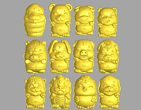 Twelve cute animals 3D printable model