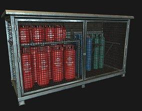 3D asset Low Poly PBR Gas Bottle Storage Cage