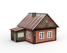 Village House denlog 3D asset low-poly