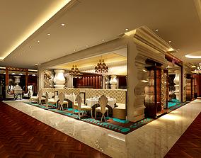 3D model European restaurant European sofa decoration
