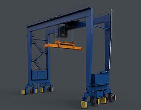 3D model PBR Rubber Tyred Gantry Crane RTG V2 - Blue