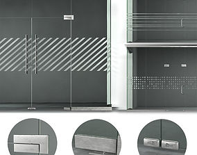 A set of glass partitions with sandblasted images 3D