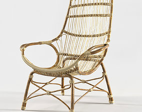 RETRO RATTAN HIGH BACK LOUNGE CHAIR by 3D