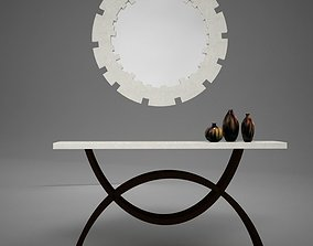 Dining Room Buffet Table Set Mirror 3D model