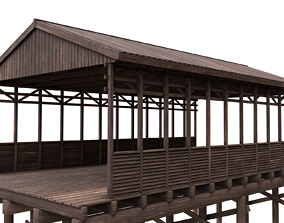 Wood Bridge 3D asset