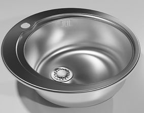 Round kitchen sink 3D model PBR
