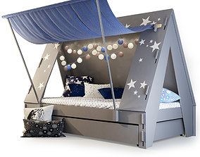3D Mathy by Bols Kids Tent Cabin Bed with Trundle Drawer