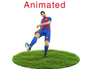 Luis Suarez Game Ready Football Player Kick 3D asset