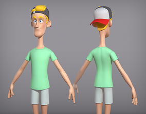 Male cartoon character Fred 3D model