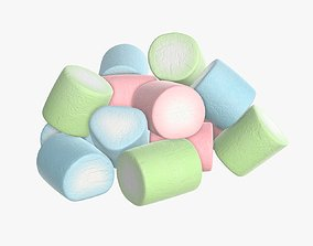 Marshmallows candy cylindrical shape 3D