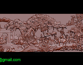 Mural landscape wood carving file stl OBJ 3D print model 3