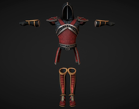 Red Leather Armor Set 3D model