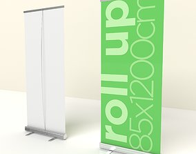 Roll Up Banner Marketing Branding Sales Low poly 3d