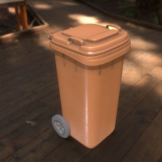 Brown plastic waste bin 120 liters 945x393x480