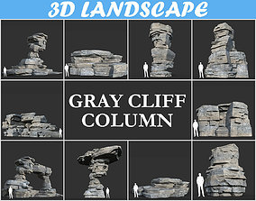 Low poly Gray Column Cliff Pack 181124 3D