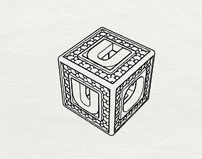 Baby Block Charm - U 3D print model