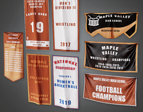 3D model School Wall Banners - HSG - PBR Game Ready