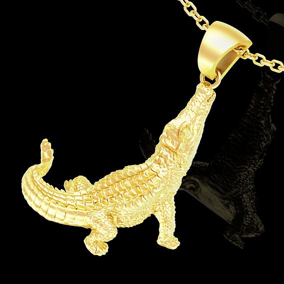 Crocodile pendant jewelry gold necklace medallion 3D print model