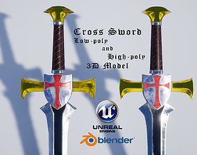 realtime Cross Sword Low-poly and High-poly 3D Model