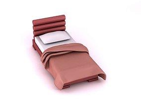 Red Headboard Bed 3D model