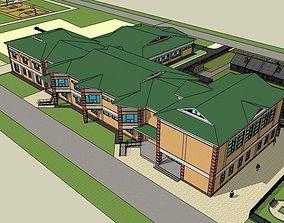3D model a school with a kindergarten