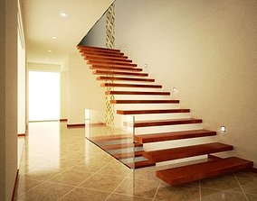 3D model VR / AR ready Modern hall and stairs with