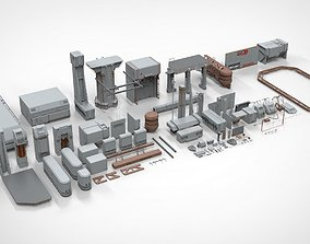 3D model Sci-Fi architecture Elements collection 12